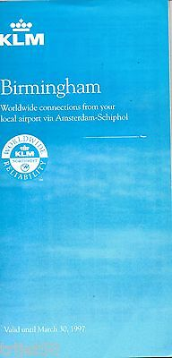 Airline Timetable KLM 1996 Birmingham Winter