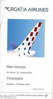 Airline Timetable Croatia Airlines 2007 Summer