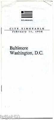 Airline Timetable US Airways 1998 Feb Baltimore