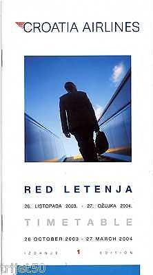 Airline Timetable Croatia Airlines 2003 Winter