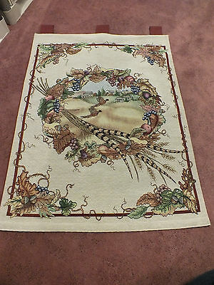 "Beautiful Tapestry Labeled PHEASANTS AFIELD 36 x 26"" Loops for Hanging On Rod"