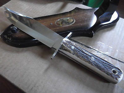 """Hen & Rooster 13"""" Bowie Knife Stag Handle German Stainless Hr3107 Leather Sheath"""