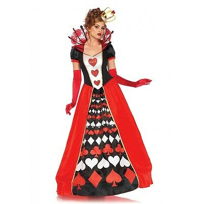 Women's Deluxe Queen Of Hearts Dress Outfit Adult Halloween Party Costume NEW