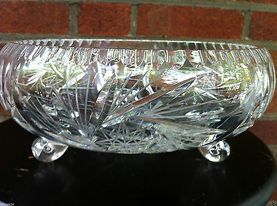 Hand Cut Bohemian Crystal Pinwheel Design Fruit Footed Round Bowl 9 Inches