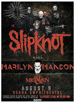 SLIPKNOT 2016 Gig POSTER Salt Lake City MARILYN MANSON Concert Utah