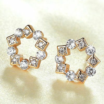 18K Yellow Gold Gf Made With Swarovski Crystal Flower Stud Earrings Cute