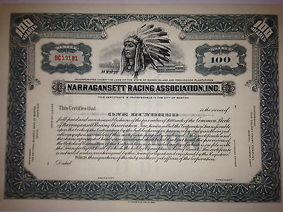 NARRAGANSETT RACING Assoc authentic stock certificate w/ Indian Chief racetrack