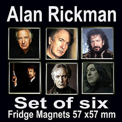 Alan Rickman-Set of 6 Fridge Magnets 57x57mm