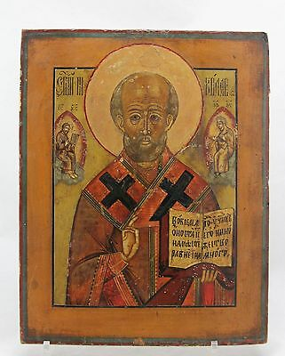 antique 18th-19th C. Russian orthodox Icon, St. Nicolas of Myra, 32cm/12 inch