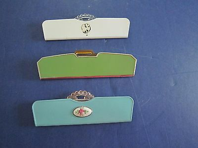 3 Vintage Collectible Travel Purse COMBS with Metal Cases c1950's