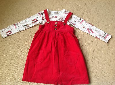 Red Pinafore Dress With Welly Print Top By Next In Size Age 4 To 5 Years