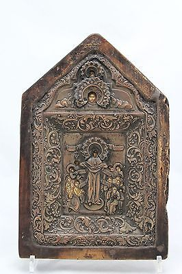 antique 18th C Russian orthodox riza icon, Mother of God, Joy to all who sorrow