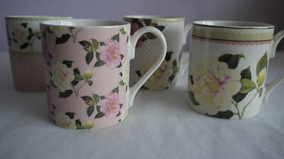 4 x PRETTY QUEENS ENGLISH BONE CHINA MUGS CAMELLIAS RHS V.G.C