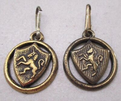 Vintage Lot of 2 Zipper Pulls Royal Coat of Arms Unicorn Shield United Kingdom