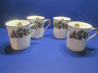 Queens Rosina China England Set Of 4 Christmas Yuletide Coffee Mugs