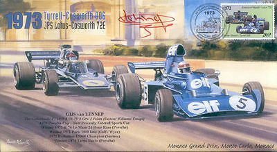 1973 TYRRELL-COSWORTH JPS LOTUS-COSWORTH MONACO F1 cover signed GIJS van LENNEP