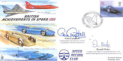 CC59 Bluebird Boat & Car FDC signed CAMPBELL & WALES