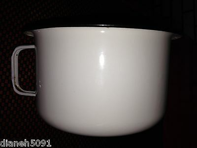 Antique Primative Enameled Chamber Pot With Handle White & Black 1920's/30's