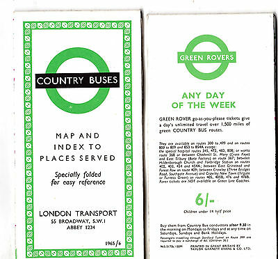 LONDON TRANSPORT ROUTE MAP 1965/6 LRM10: Country 965/3170s/150M