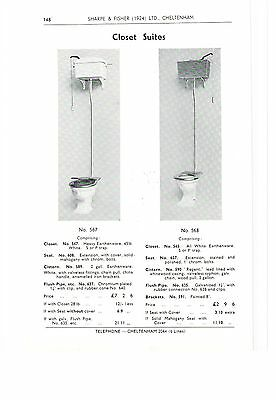 High Level Cistern Closet Toilet Suites 1939 Vintage Advert with Prices