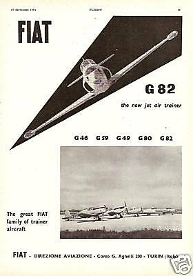 1954 Fiat Turin G82 Jet Trainer Aircraft Old Advert
