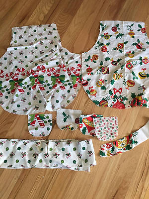 Vintage Christmas Apron Pieces Child's To Be Sewn 2 Different Border Fabric 1940