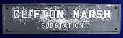 Rare Original Vintage Metal Clifton Marsh Substation Lancashire Sign