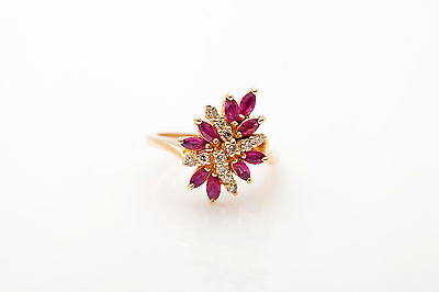 Estate $3000 2ct Natural RUBY Diamond 14k Yellow Gold Cocktail Ring
