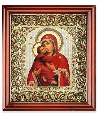 Madonna and Child Christ Icon in Wooden Frame Shrine With Red Crystals 10 Inch
