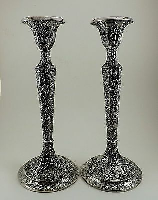 Fabulous Early Mark Derby Silver Co. Repouse Candlesticks 19thC Hollow Ware