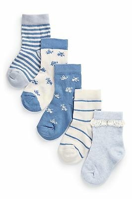 Bnwt Next Blue And White Ditsy Socks Five Pack Size 9-12