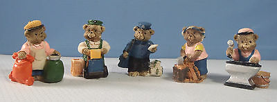Miniature bears set of 5 working bears postman blacksmith woodcutter delivery c