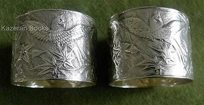 2 Antique Victorian Solid Silver Phoenix & Flowers Napkin Rings Boxed Elkington