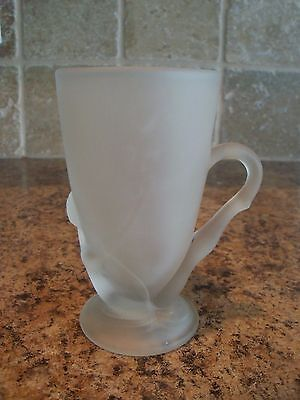 Vintage McKee Frosted Glass Bottoms Down Mug with Patent Number 77725