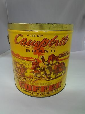 Vintage Campbell Brand Coffee Tin Advertising Collectible 4 Lb Can Pail 646-U