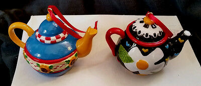 """Set of 2 MARY ENGELBREIT Bright Colorful Teapot Ornaments 2.25"""" Resin, excl cond"""