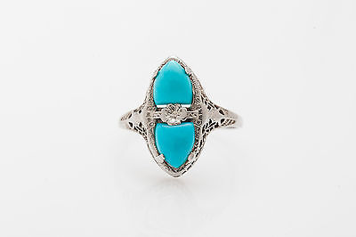 Antique 1920s 3ct Fancy Cut Turquoise Orange Blossom 14k Gold Filigree Ring