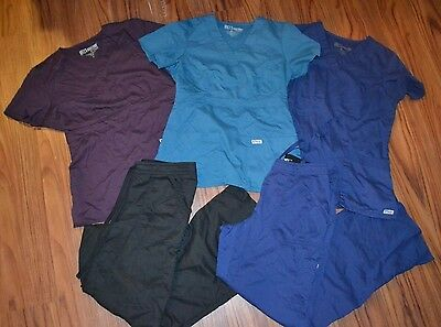 5 Greys Anatomy Scrub Lot 3 Tops 2 Pants Medical Uniform Sets Women's S M AELZ