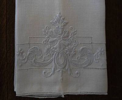 Vintage Set Linen Hand Towels Blue Art Deco Madeira Embroidery Drawn Work
