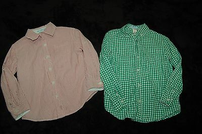 Lot Boys Janie and Jack Green Plaid Red Stripes Button Down Shirts Size 5 EUC