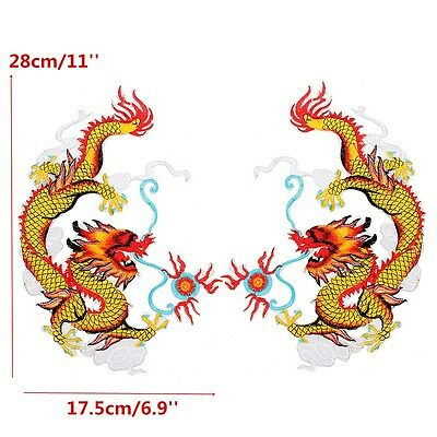 2X Chinese Dragon Embroidered Patches Animal Iron on Patches Applique 28x17.5cm