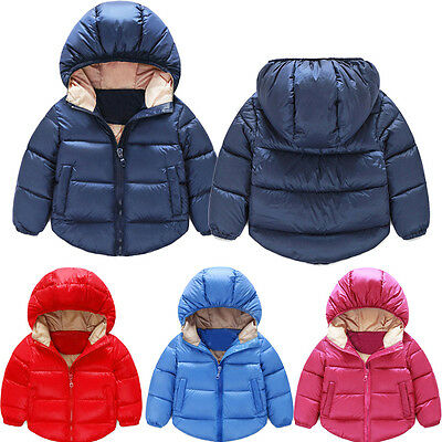 Toddler Boys Girls Outerwear Hooded Warm Cotton Coat Jacket Baby Clothes 1-5Y