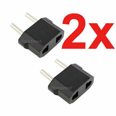 AU/US Two Pins to EU/Eueopean Round AC Mains Power Wall Plug Lead Cable Adapter