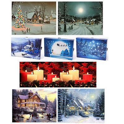 8 Assorted Christmas LED Wall Canvases Light Up Picture Print Art Decoration New