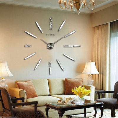 DIY Large Wall Clock Home Office Room Decor Analog 3D Mirror Surface Sticker