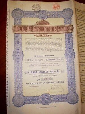 Compagnie Internationale des Petroles   share certificate  1925