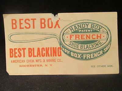 American Chem Mfg Best Box French Shoe Blacking Victorian Trade Puzzle Card