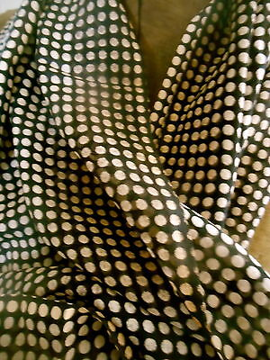 Antique Edwardian Lighter Weight Black Cream Dot Fabric ~ early 1900