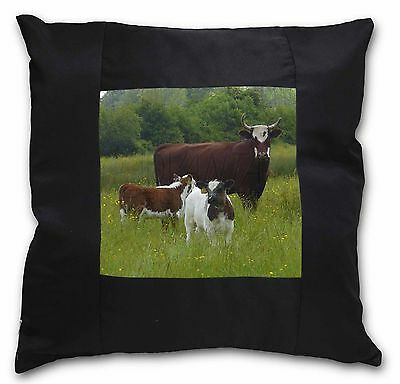 Cow with Calf Black Border Satin Feel Cushion Cover With Pillow Inser, ACO-5-CSB