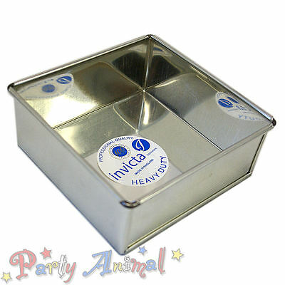 "Invicta 8"" Inch Square High Quality Professional Cake Tin Pans / Bakeware Tins"